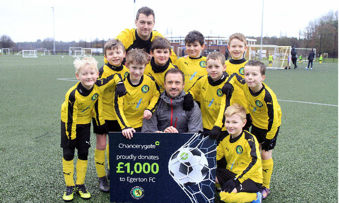 Back of the net! Knutsford's Egerton FC mini footballers celebrate £1,000 new equipment donation